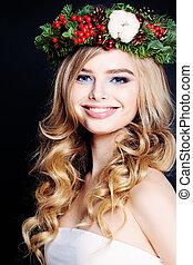 Smiling Woman Fashion Model on Black Background