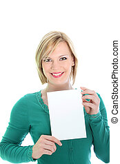 Smiling woman holding a blank page
