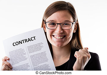 smiling woman holding a contract