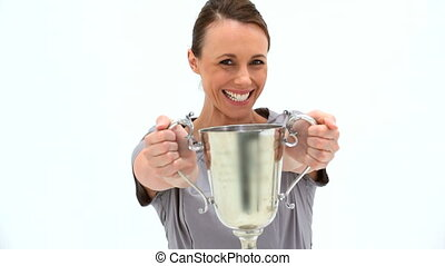 Smiling woman holding a cup