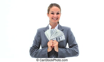 Smiling woman holding a fan of notes