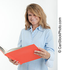 Smiling woman holding a folder