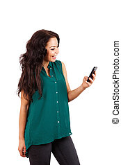 Smiling woman holding cell phone
