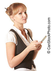 Smiling woman holding mobile