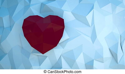 Smiling woman holding red polygonal paper heart shape