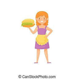 Smiling woman holding stack of clean folded clothes. Cartoon character of housewife. Laundry theme. Flat vector design