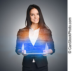 Smiling woman holding tablet and over computer code background