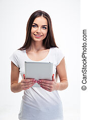 Smiling woman holding tablet computer