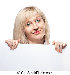Smiling woman holding white empty paper