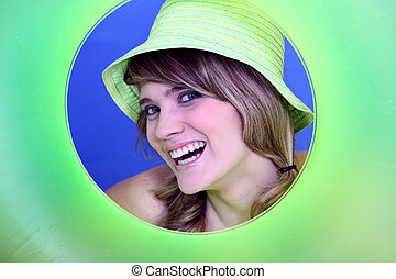 Smiling woman in a circle