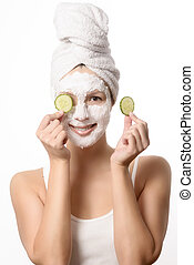Smiling woman in a face mask