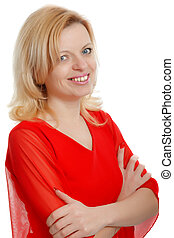 smiling woman in a red blouse