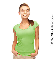 smiling woman in blank green t-shirt - picture of smiling...