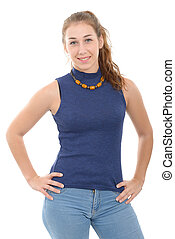 smiling woman in blue casual smart clothing, isolated