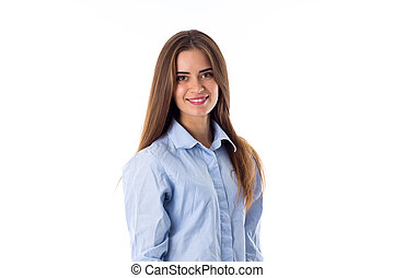 Smiling woman in blue shirt
