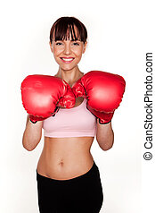 Smiling Woman In Boxing Gloves