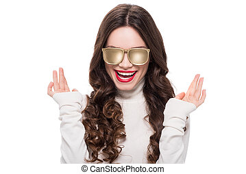 Smiling woman in gold sunglasses - Portrait of young ...