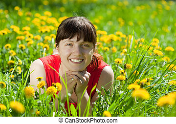 smiling  woman  in grass