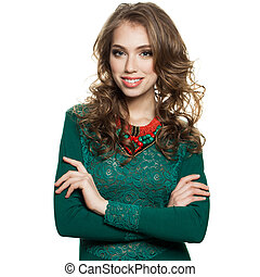 Smiling Woman in Green Dress Isolated on White