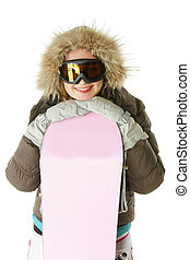 Smiling woman in hood with snowboard