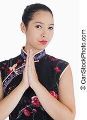 Smiling woman in kimono