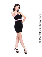 Smiling woman in little black dress on white