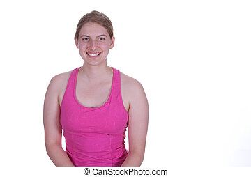 Smiling woman in Pink