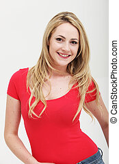 Smiling woman in red shirt