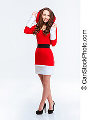 Smiling woman in santa claus cloth