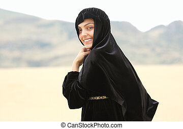 Smiling woman in shawl