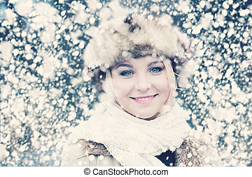 Smiling Woman in Snow Winter Background