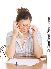 Smiling woman in spectacles with phone