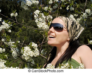 smiling woman in the garden
