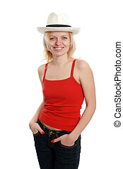 smiling woman in white hat