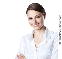 Smiling woman in white shirt