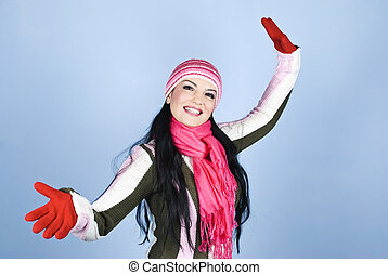 Smiling woman in winter clothes - Happy smiling young woman...