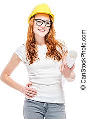 smiling woman in yellow helmet in studio posing