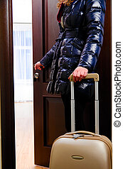 going into hotel room