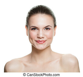 Smiling woman isolated on white background. Beautiful young woman with healthy skin laughing