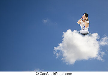 smiling woman listen to music and sitting on the cloud with computer