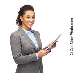 smiling woman looking at tablet pc
