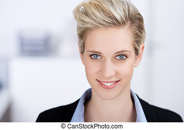 Smiling Woman Looking Away In Office