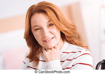 Smiling woman of middle age in high spirits - In high...