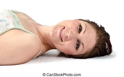 Smiling woman on floor