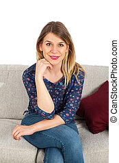 Smiling woman on the couch