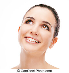Smiling woman on white background