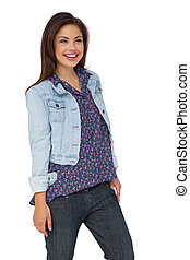 Smiling woman over white background
