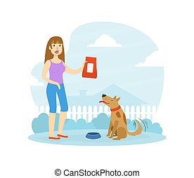 Smiling Woman Owner Feeding her Dog in Backyard Flat Vector Illustration