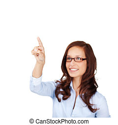 Smiling woman pointing her finger