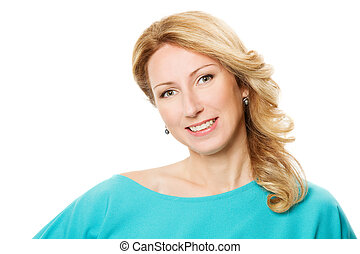smiling woman portrait over white background